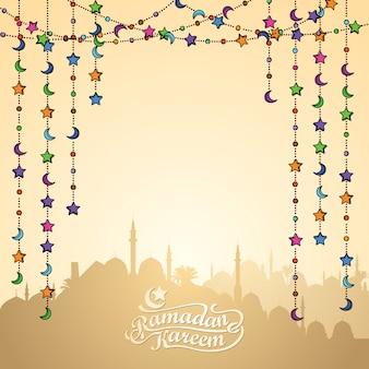 Ramadan kareem grußkartenvorlage
