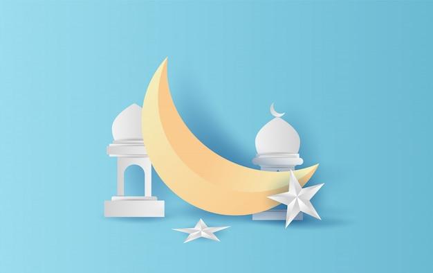 Ramadan kareem-halbmonddekoration mit stern und laterne