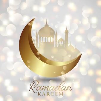 Ramadan kareem hintergrund auf einem bokeh lichter design