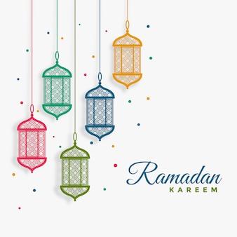 Ramadan kareem-hintergrund der dekorativen hängenden laternen