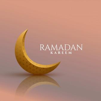 Ramadan kareem hintergrund des goldenen mondes 3d