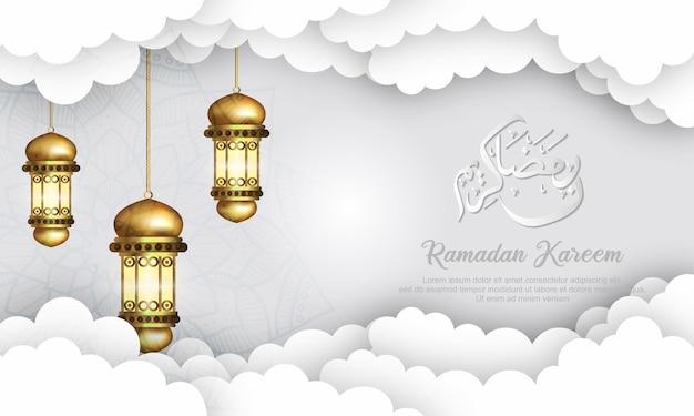 Ramadan kareem hintergrund, illustration mit arabischen laternen