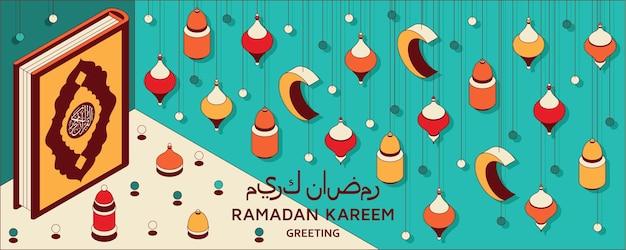 Ramadan kareem hintergrund isometrische islamische arabische laternen