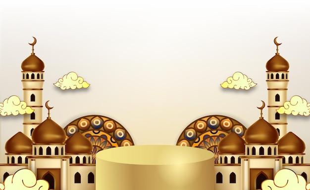 Ramadan kareem hintergrund mit 3d luxus podium und laternen