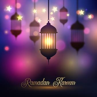Ramadan kareem hintergrund mit hängenden laternen
