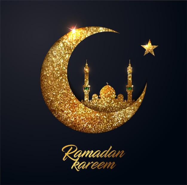 Ramadan kareem hintergrund mit halbmond aus glänzenden kleinen goldenen glitzerquadraten im pixelstil