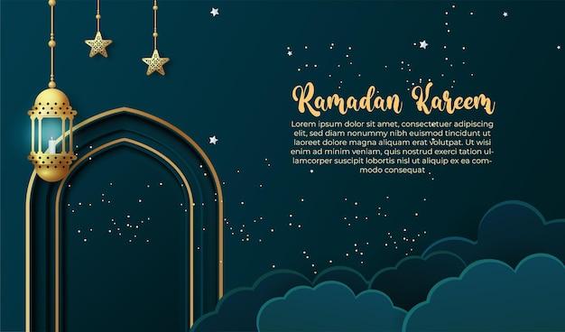 Ramadan kareem hintergrund mit laterne. ramadan grußkarte oder banner vorlage design
