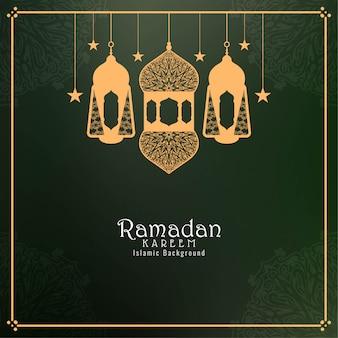 Ramadan kareem hintergrund mit laternen