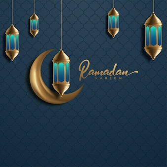 Ramadan kareem hintergrund mit mond und laterne