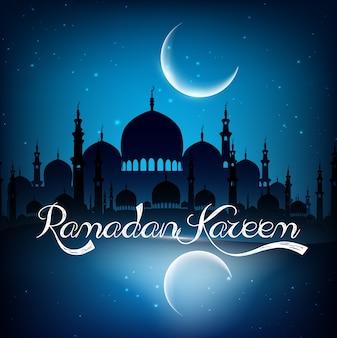 Ramadan kareem-hintergrund mit moschee auf nacht