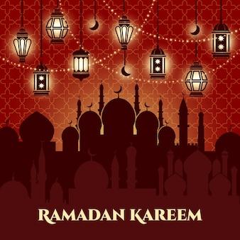 Ramadan kareem hintergrund mit moscheen und minaretten