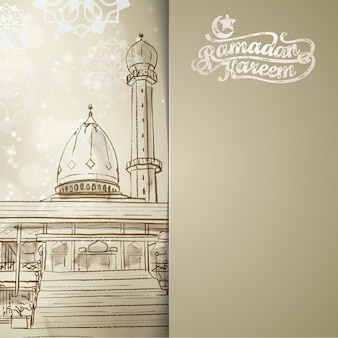 Ramadan kareem-hintergrund mit moscheenlinie skizze