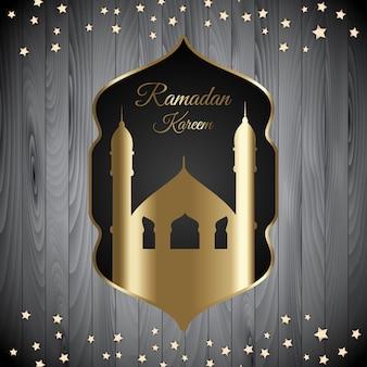 Ramadan kareem-hintergrund mit moscheenschattenbild auf hölzerner beschaffenheit