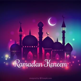 Ramadan kareem hintergrund mit nächtlichen design