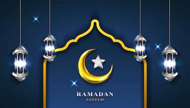 Ramadan kareem hintergrund mit realistischem halbmond 3d, laternenlampe und stern