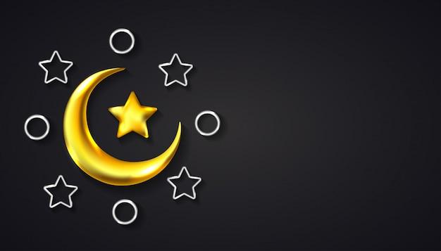 Ramadan kareem hintergrund mit realistischem halbmond, stern und ring mit goldener silberner farbe.