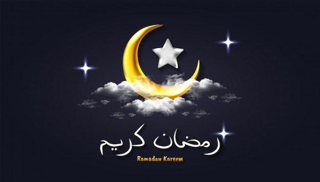 Ramadan kareem hintergrund mit realistischem halbmond, stern, wolke und arabischer kalligraphie 3d