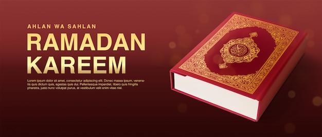 Ramadan kareem illustration hintergrundvorlage 3d realistict quran design.