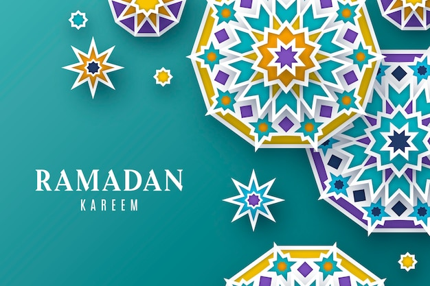 Ramadan kareem illustration im papierstil