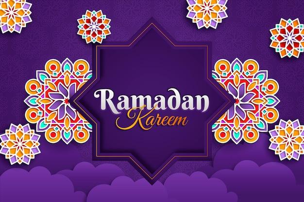 Ramadan kareem illustration im papierstil