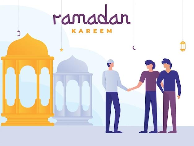 Ramadan kareem-illustration mit kleinen leuten