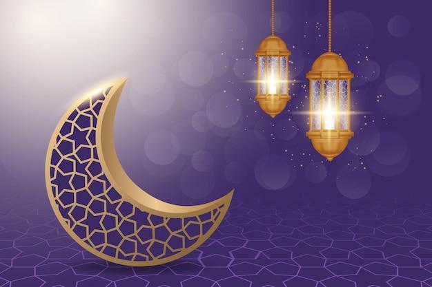 Ramadan kareem illustration mit realistischem stil.