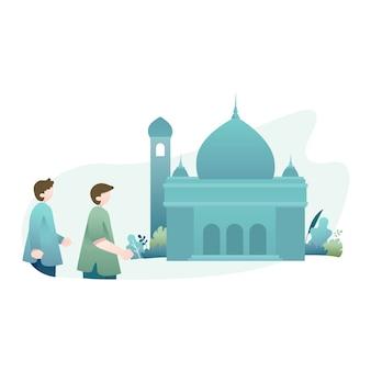 Ramadan kareem illustration mit zwei moslems, die zur moschee gehen