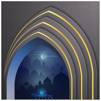Ramadan kareem islamische grußkartenschablone und geometrischer musterhintergrund marokkos