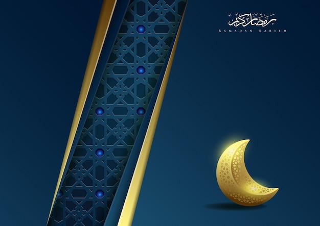 Ramadan kareem islamischer hintergrund mit mond