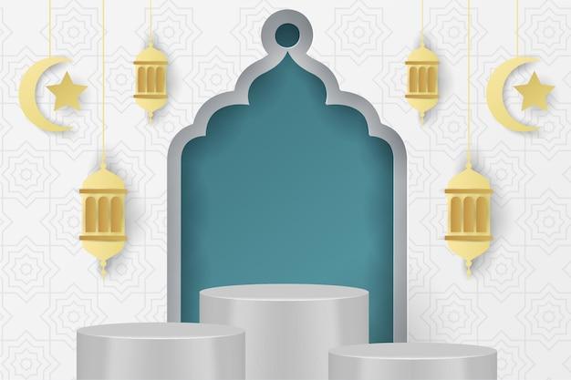 Ramadan kareem islamischer hintergrund podium blau tosca