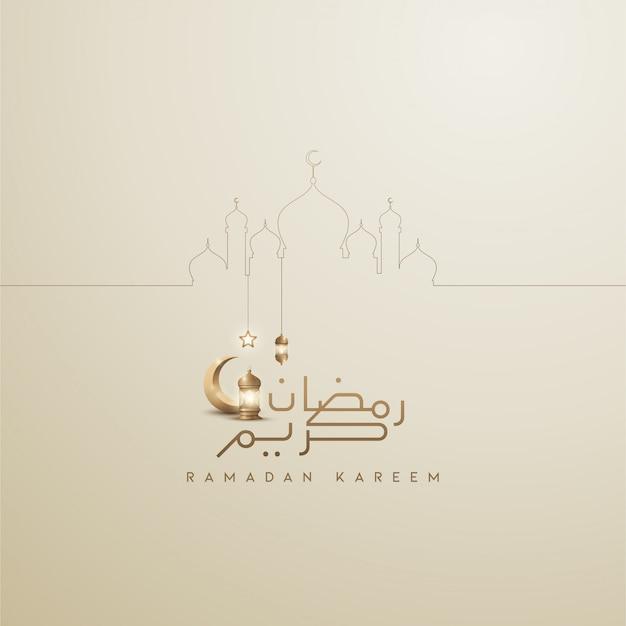 Ramadan-kareem islamischer kalligraphiehintergrund mit laterne und linie moschee