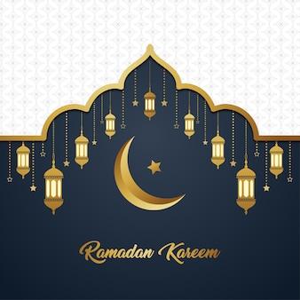 Ramadan kareem islamischer weißer luxusgoldeleganter exklusiver hintergrund