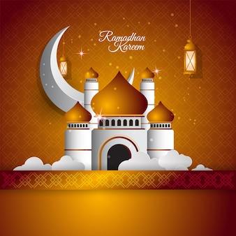 Ramadan kareem islamisches banner mit papierart