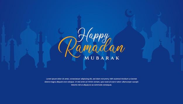 Ramadan kareem islamisches hintergrunddesign mit moscheenillustration. kann für grußkarten, kulissen oder banner verwendet werden