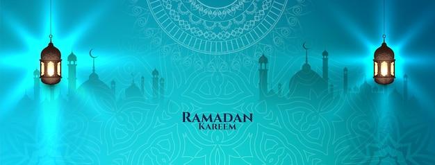 Ramadan kareem islamisches traditionelles glänzendes blaues banner