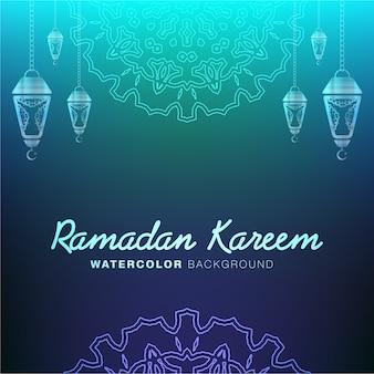 Ramadan kareem kalligraphie auf dunklen farbe abstrakten hintergrund