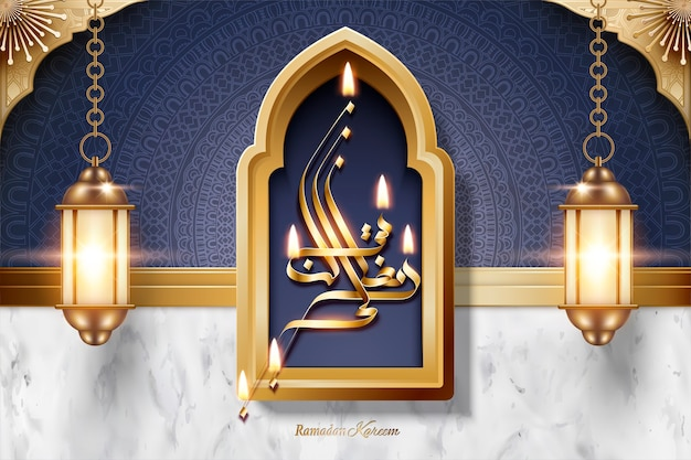 Ramadan kareem kalligraphie mit laternen auf marmorstein und arabeskenstruktur