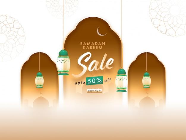 Ramadan kareem konzept mit hängenden laternen, halbmond und moschee auf blumenhintergrund.