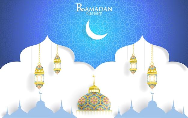 Ramadan kareem-konzept mit islamischen geometrischen mustern.