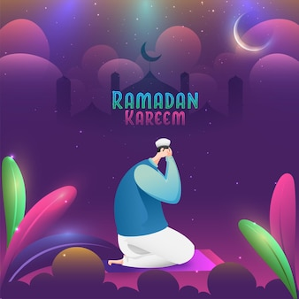 Ramadan kareem konzept mit seitenansicht des muslimischen mannes, der betet