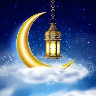 Ramadan kareem lampe, laterne im himmel mit mond und wolken. arabischer islam fanoos auf sternenhintergrund