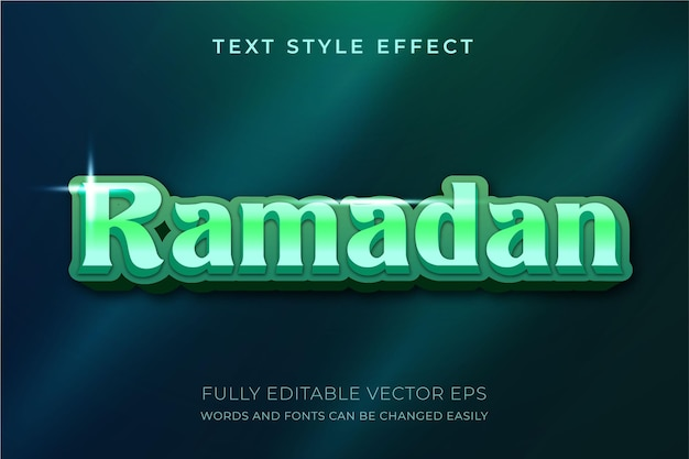 Ramadan kareem luxus grüner bearbeitbarer textstileffekt