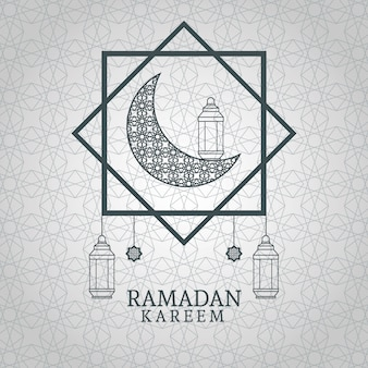 Ramadan kareem mit abnehmendem mond