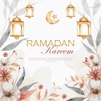 Ramadan kareem mit blumen und goldener laterne Premium Vektoren