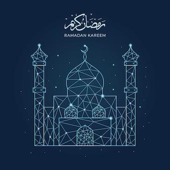 Ramadan-kareem mit geometrischer kunstlinie moscheenillustration