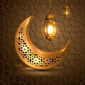 Ramadan kareem mit goldenem mond und laterne islamisch