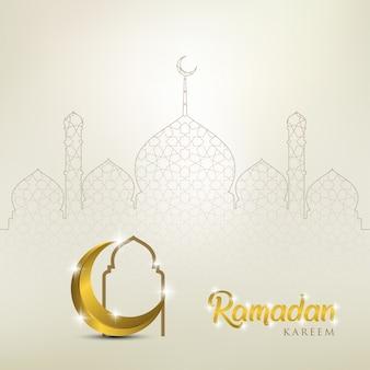 Ramadan kareem mit goldenem mond und moscheenkuppel