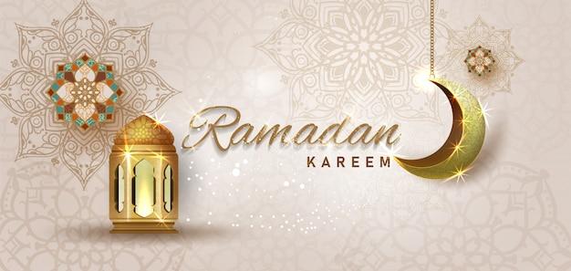 Ramadan kareem mit goldenem verziertem halbmond und islamischer linienmoschee