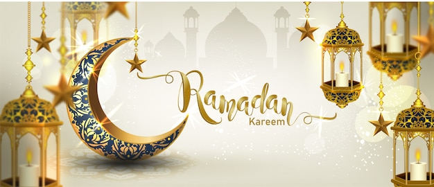 Ramadan kareem mit halbmond gold luxuriösen halbmond, vorlage islamischen verzierten element für, 3d-stil