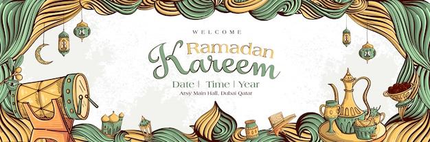Ramadan kareem mit hand gezeichneter islamischer illustrationsverzierung auf weißem schmutzhintergrund